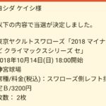 神宮CSチケット、当選!